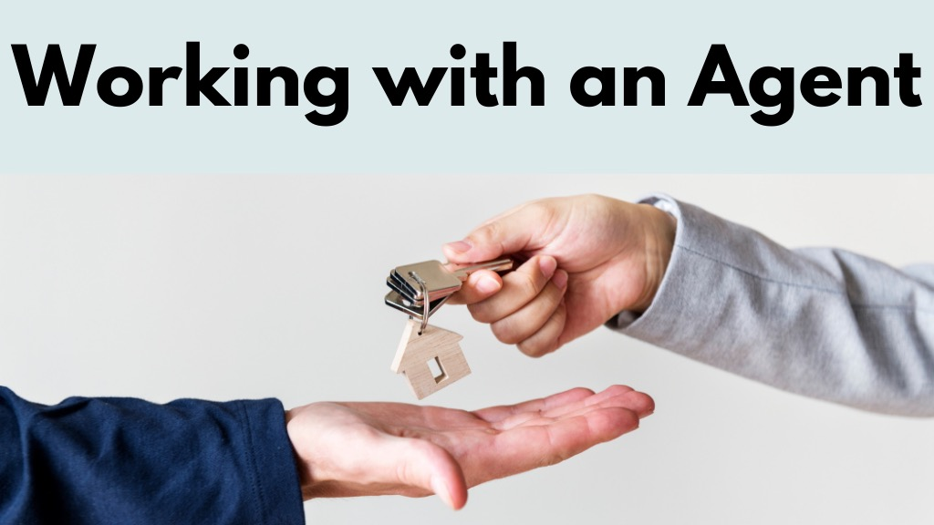 Renters and agents reaching hands out to hand off an apartment or house key