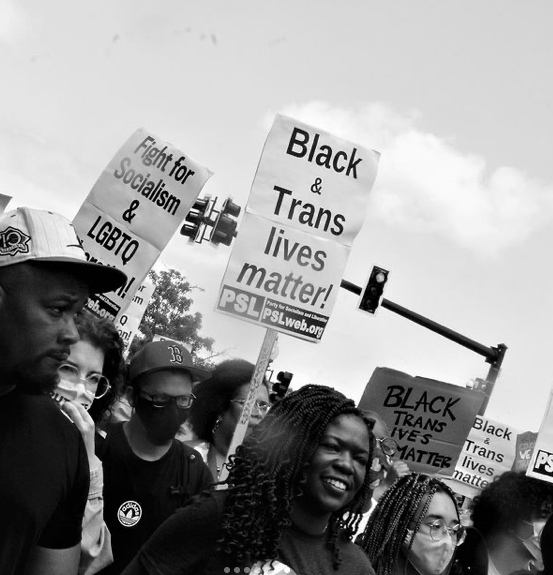 black and white photo of people at a march holding signs saying black and trans lives matter