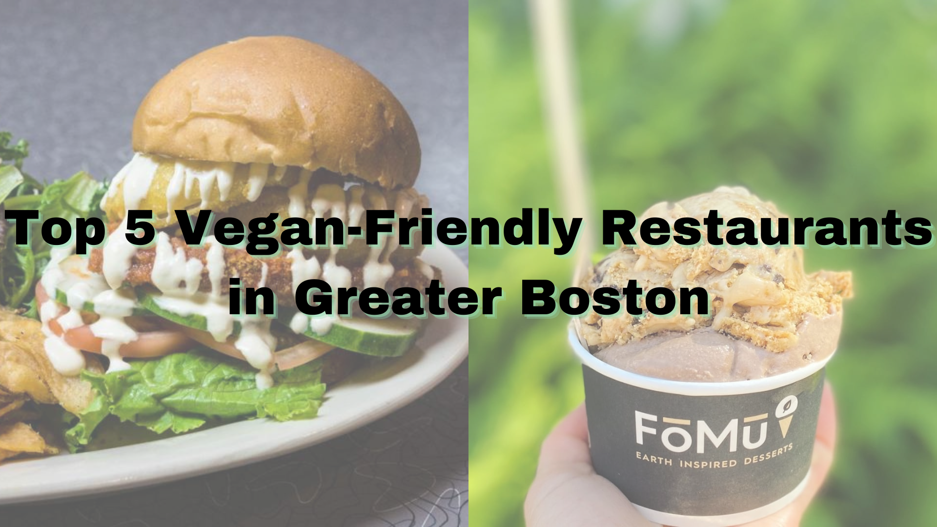 cover photo saying top five vegan-friendly restaurants in Greater Boston