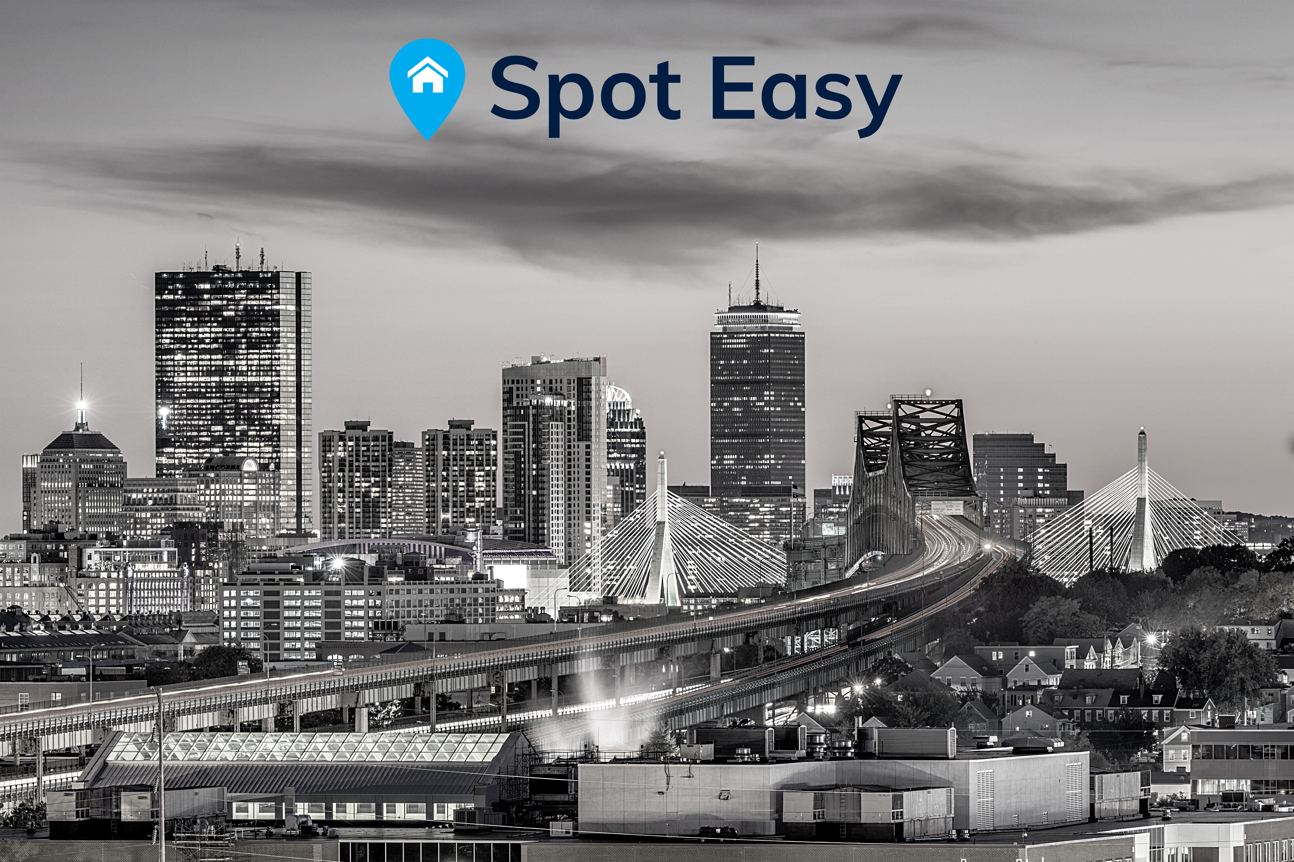 Image of Boston skyline in black and white photo, city in Massachusetts, featuring logo of Spot Easy