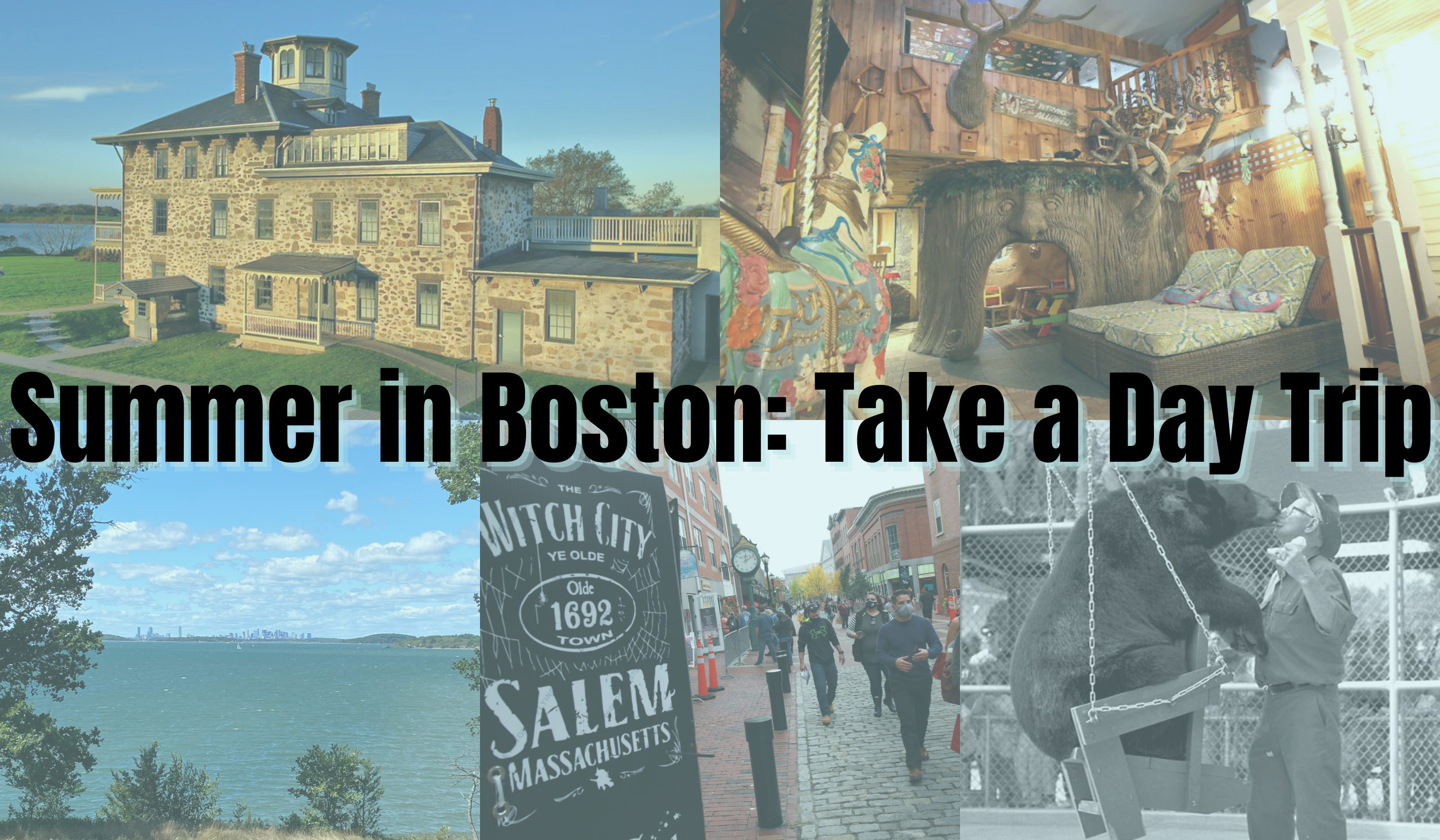 photo collage of things to do in New England with caption over photos saying summer in boston: take a day trip