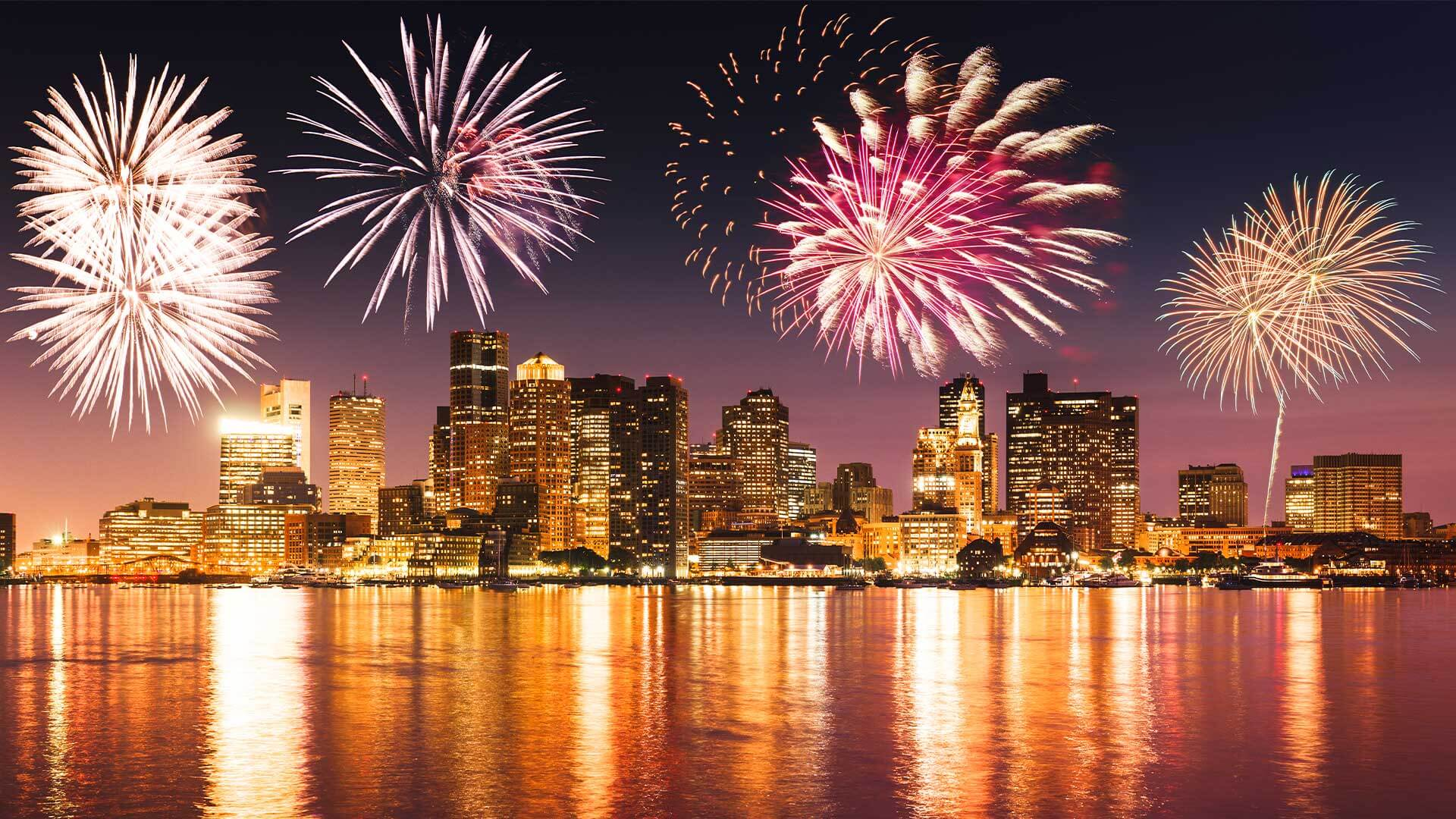 photo of fireworks over Charles River in boston